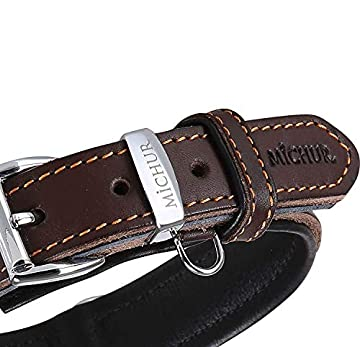 🐕Michur Minimo, ein weiches und starkes Hundehalsband aus Leder / Lederhalsband für Hunde! Das Modell Minimo ist aus braunem Leder mit edlen orangen Ziernähten und einem Zusatzring für die Hundemarke. In der Gesamtlänge 62cm und 3,5cm Breite, ist es ...