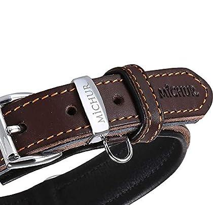 Michur Minimo, ein weiches und starkes Hundehalsband aus Leder / Lederhalsband für Hunde! Das Modell Minimo ist aus braunem Leder mit edlen orangen Ziernähten und einem Zusatzring für die Hundemarke. In der Gesamtlänge 62cm und 3,5cm Breite, ist es g...
