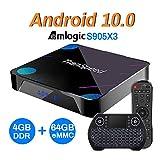 Android TV Box 10, 4GB 64GB Support 8K 3D 4K, Amlogic s905x3 Smart tv Box with Mini Keyboard