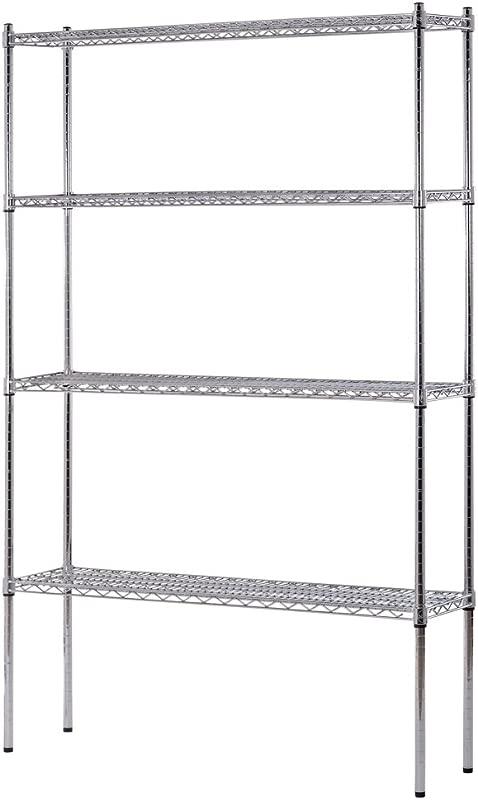 Sandusky Lee WS481274 C Industrial Welded Wire Shelving 800lbs Capacity 48 Width X 74 Height X 12 Depth Chrome