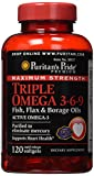 Puritan's Pride Maximum Strength Triple Omega 3-6-9 Fish, Flax & Borage Oils-120 Softgels
