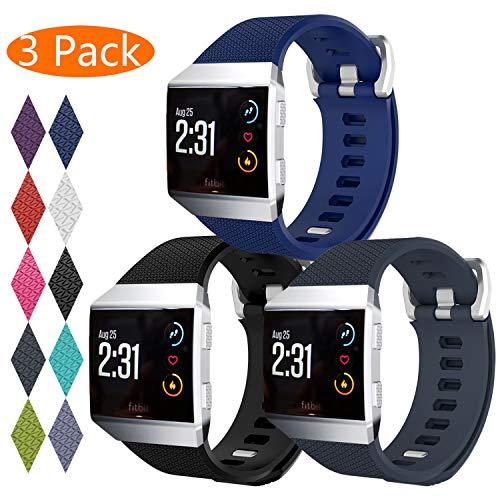 KingAcc Kompatibel Fitbit Ionic Armband, Weiche Silikon Ersatz Armbänder Armband für Fitbit Ionic, Metall Schnalle Fitness Armband Uhrenarmband Frau Männer(3-Pack, Series-A, Groß)