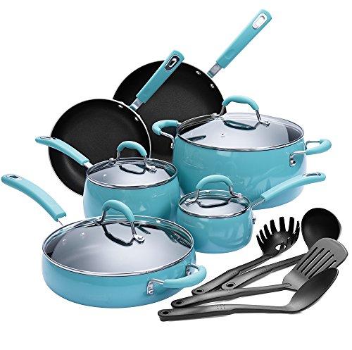 Finnhomy Hard Porcelain Enamel Aluminum Cookware Set, Ceramic Cookware Set, New Technology Double Nonstick Coating PTFE PFOA Free Kitchen Pots and Pan Set, 14-Piece, Agave Blue