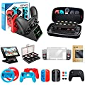 Accessories Kit Bundle for Nintendo Switch, OIVO 12 in 1 Accessory Kit, Controller Charging Dock, Carry Case, Playstand, Dockable Case, Joy-Con Grips and Wheels, Game Card Case, Cover Cases, Caps