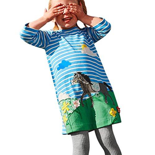 Xinan Mädchen Kleider Kleinkind Baby Girls Princess Weihnachten Kleid Horse Print Embroidery Party Dress Outfits (Blau, 4T)