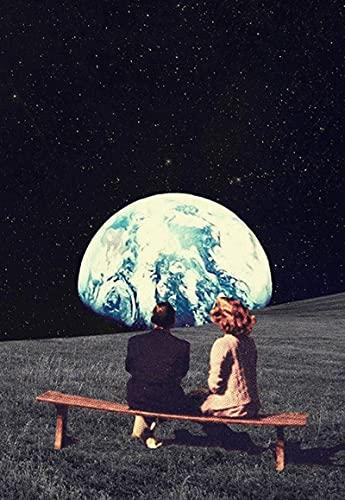 Póster de arte 30x50cm sin marco cielo nocturno impresiones artísticas tierra pareja carteles e impresiones surrealismo galaxia espacio Luna imagen decoración del hogar