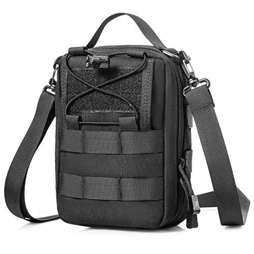 Huntvp Taktische Erste Hilfe Tasche mit Rotkreuz Patch LEER Molle Notfalltasche Militärisch Schultertasche Wasserdicht Umhängetasche für Camping Outdoor, Typ-2 Schwarz