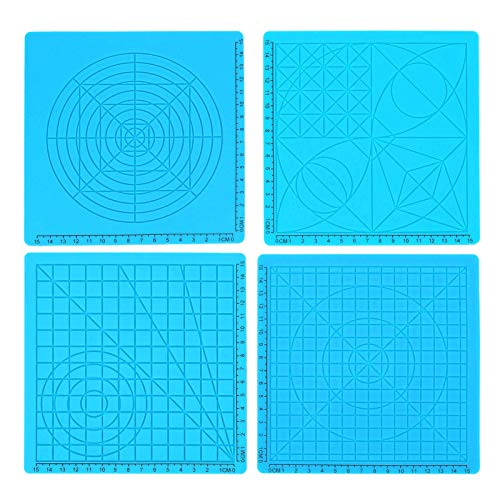 3D Pen Mat, 3D Pen Templates, 4pcs High Accuracy Lightweight Multi‑Shaped Blue Adults Kids for Printing Pen 3D Printing