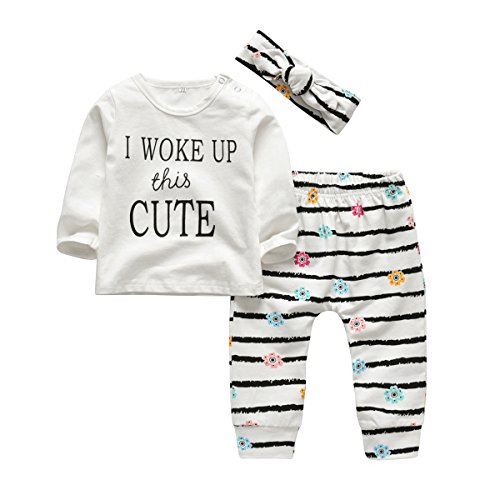 3Pcs Baby Girl Outfits Set I Woke Up This Cute Long Sleeve T-Shirt Tops Flowers Pants with Headband (18-24 Months)