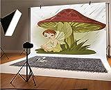 Fondo de vinilo para fotógrafos, diseño de hada bajo la lluvia de hongos, con alas de lluvia, gotas de agua, fondo verde para bebé, cumpleaños, boda, graduación, decoración del hogar