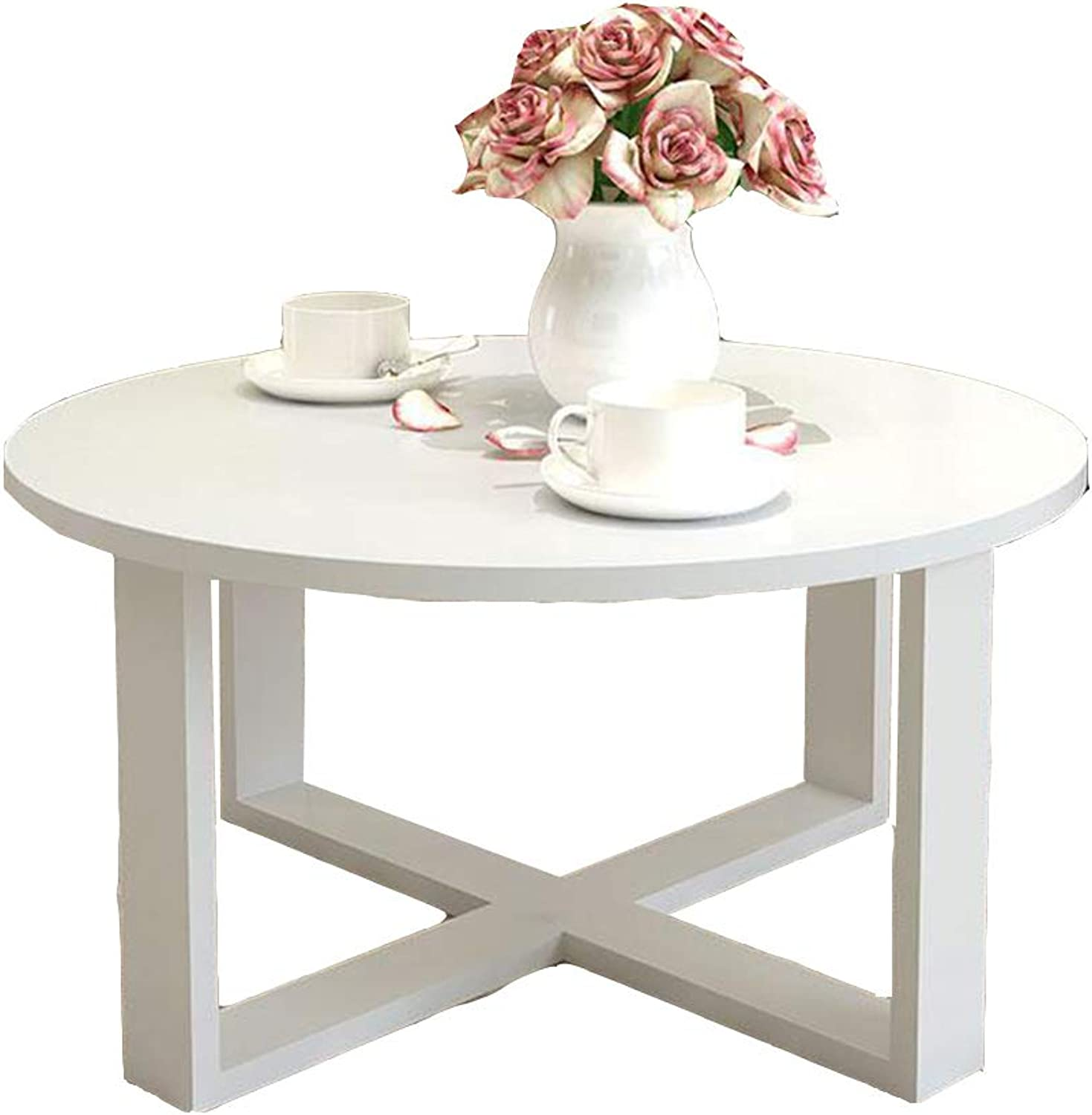 Round Coffee Table End Table Bedside Table 60  40cm (color   White)