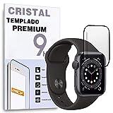 REY Protector de Pantalla Curvo para Apple Watch Series 4 40mm - Series 5 40mm, Negro, Cristal Vidrio Templado Premium, 3D / 4D / 5D
