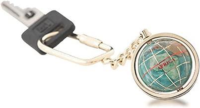 Gemstone Globe with Opalite Ocean Showcased on a Keychain Color: Bahama Blue, Finish: Light Gold