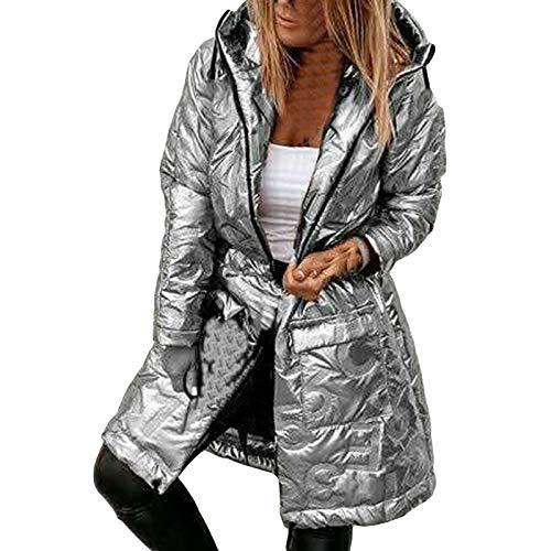 HWTOP Baumwollmantel Große Größen Damen Daunenmantel Winter Warmer Steppjacke Große Größen Mantel Slim Fit Long Softshell-Jacke Outwear, Silber, XL
