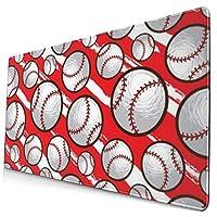 マウスパッド 野球パターン赤 超大型 ゲーミングマウスパッド おしゃれ 防水 滑り止め 耐久性が良い