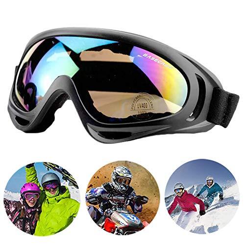 Bibykivn Motorradbrillen Goggle - Anti Winddichter UV-Schutz Verstellbarer Skibrille Helmkompatible Fahrrad Sportbrille für Skifahren Skaten Draussen Radfahren (Mehrfarbig)