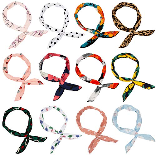 Wodasi 12 Stück Haarband mit Draht, Biegbares Stirnbänder Draht biegbar Bunny Ohr binden Bow Stirnband Haarschmuck Geschenk Gift, Twist Bow Wired Stirnbänder Stil 2
