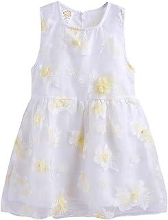 LittleSpring Pretty Summer Dress for Girls Floral Sundress Tulle Sleeveless