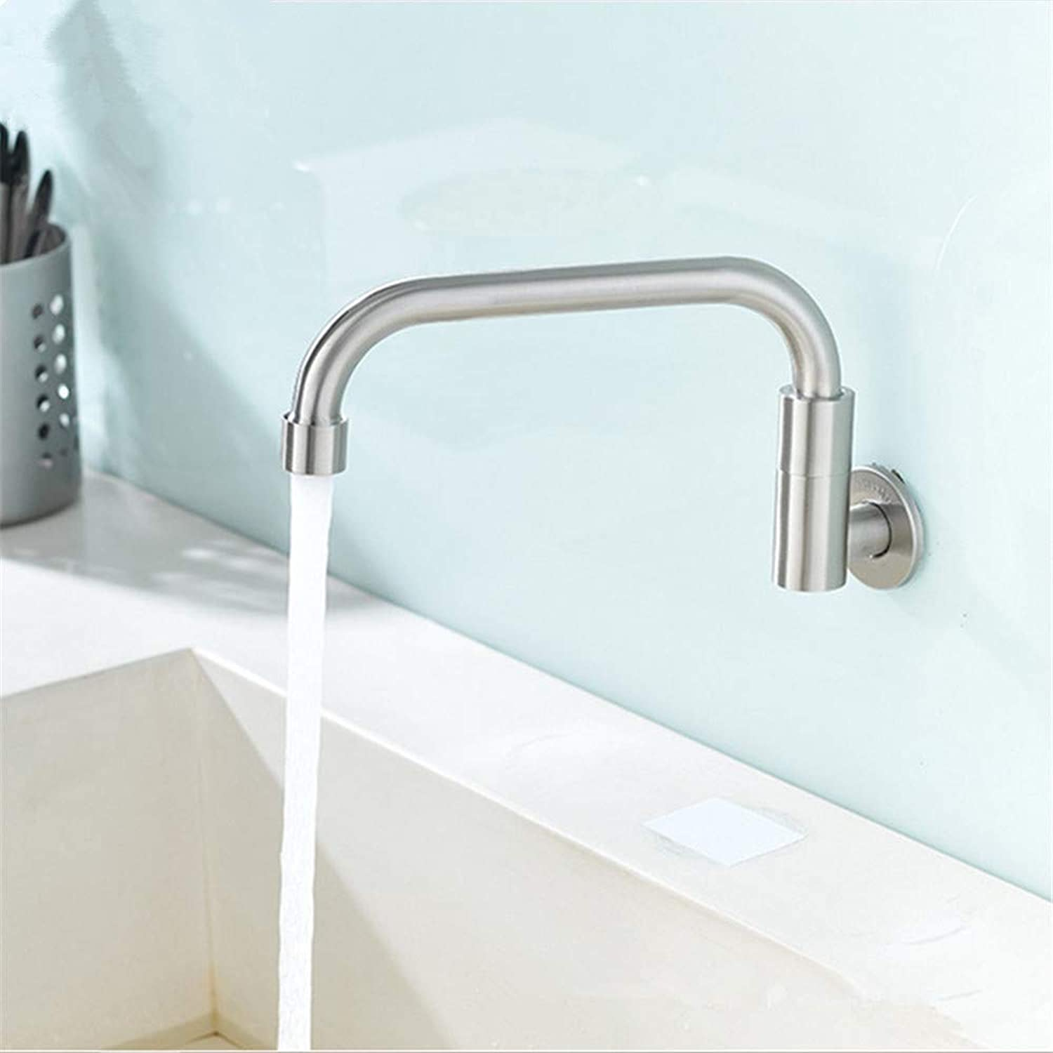 Decorry Stainless Steel Wall Mounted Single Cold Water Kitchen Faucet redatable Tap Move Faucet to Open and Close