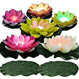 LACGO LED Waterproof Floating Lotus Light Pond Decoration Light Battery Operated Color-Changing Floating Flower Light for Pool Garden Fish Tank Outdoor Wedding Decor(6 Lotus +2 Lily Pads)