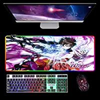 アニメギルティクラウンラージゲーミングマウスパッドRGBLEDイルミネーションマウスパッドコンピューターおよびラップトップ用ステッチエッジ付き900x400x4mm B