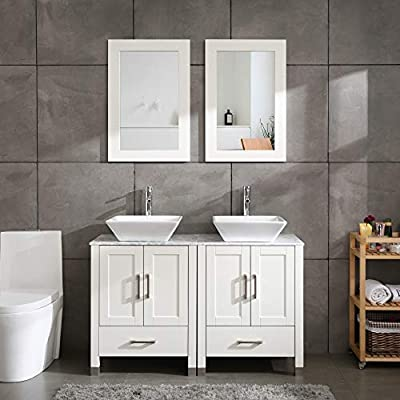 """48"""" Double Sink White Bathroom Vanity Cabinet Solid Wood w/Marble Top,Mirror,Faucet&Drain Set"""