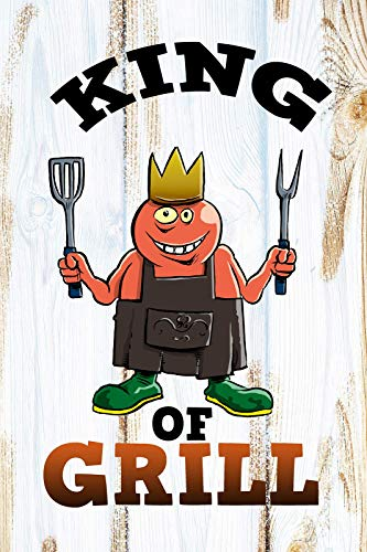King of Grill Grillen Barbeque König Cartoon Targa in metallo Targa bombata Metal Tin Sign 20 x 30 cm