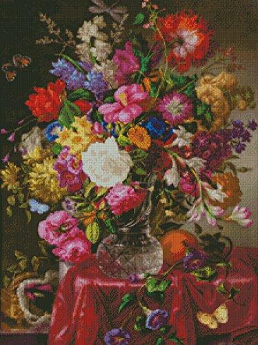 Jarrón con flores y mariposas. Esquema, gráfico, patrón punto de cruz en papel. (Hojas sueltas tamaño A4.)