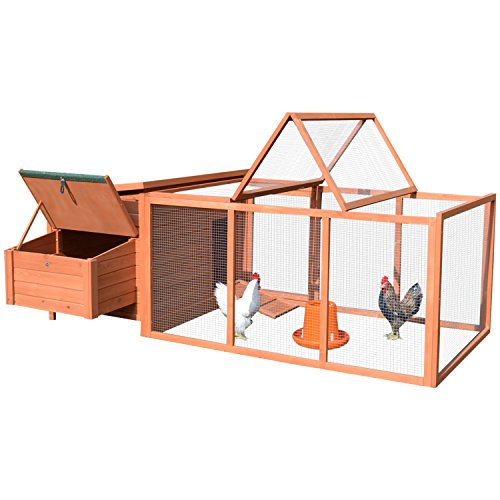 PawHut 87' Deluxe Wooden Backyard Chicken Coop With Large Outdoor Run And Nesting Box