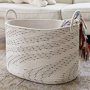 LA JOLIE MUSE Large Cotton Rope Blanket Basket, Soft Woven Laundry Basket for Blankets Toys Yoga Mat, Soft Nursery Storage, 21″(L) x 15″(W) x 13″(H), Oval, Off White with Blue & Brown Dotted Pattern