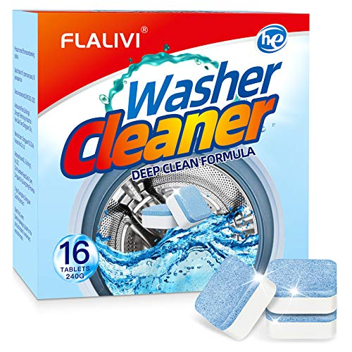 Washing Machine Cleaner Effervescent Tablets - Solid Washer Deep Cleaning Tablet, Triple Decontamination Remover with Safe Formula, for Front Load and Top Load Washers-16 Count