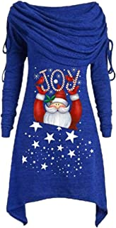 SHUSUEN Womens Long Sleeve Solid Color Lightweight Pullover Christmas Print Sweatshirt Casual Turtleneck Hoodies