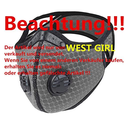 WESTGIRL Staubmaske mit Aktivkohle N95-Filtern, Waschbare und Wiederverwendbare Atemmaske für Pollenallergie,PM2.5, Holzbearbeitung, Mähen, Laufen, Radfahren, Outdoor-Aktivitäten (Grau)