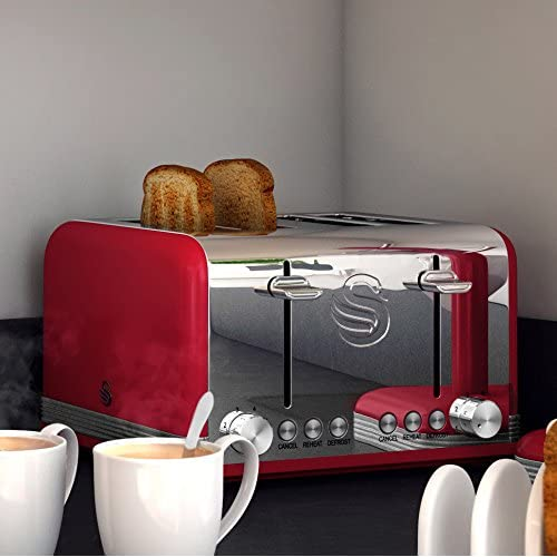 Swan 4 Slice Retro Toaster - Red