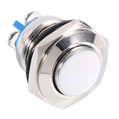 16mm 12V Pulsador de Interruptor de Metal Momentáneo, Interruptor de bocina ON/OFF con terminal de tornillo para orificio de montaje de 16 mm 5/8'