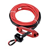 Astra Depot (1pc) RED 50ft x 1/4 inch 7000Lbs Synthetic Winch Line Cable Rope All Heat Guard Rock Protection w/Winch Stopper + Red Hawse Fairlead for Car Truck ATV UTV Ramsey KFI
