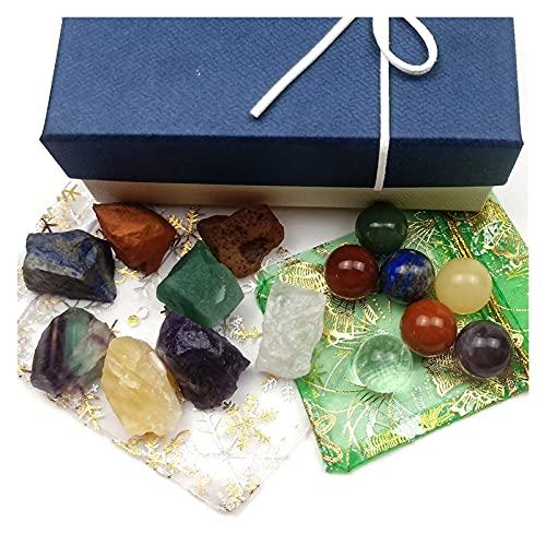 YSJJLRV Pierre Brute 7 Chakras Naturel Crystal Mini Sphères et Pierres brutes Giftbox Guérison Energie Gemstones Ornements de méditation (Color : B)