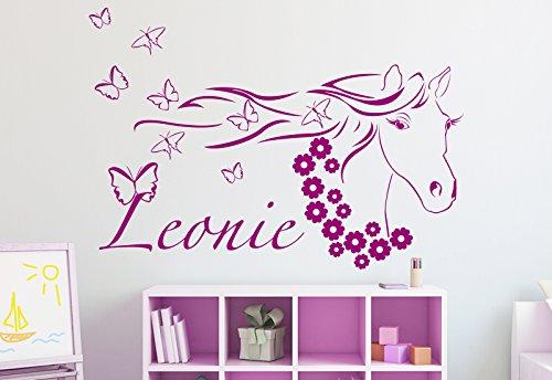 Schönes Wunschname-Wandtattoo Kinderzimmer Pferd - Pferdekopf in der Farbe violett und der Größe 80 x 56cm für Mädchen Wandaufkleber Wandsticker Aufkleber