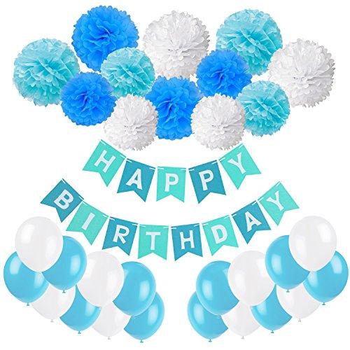 Recosis Geburtstag Party Dekoration, Happy Birthday Wimpelkette Banner Girlande mit Seidenpapier Pompoms und Luftballons für Mädchen und Jungen Jeden Alters - Blau, Hellblau und Weiß