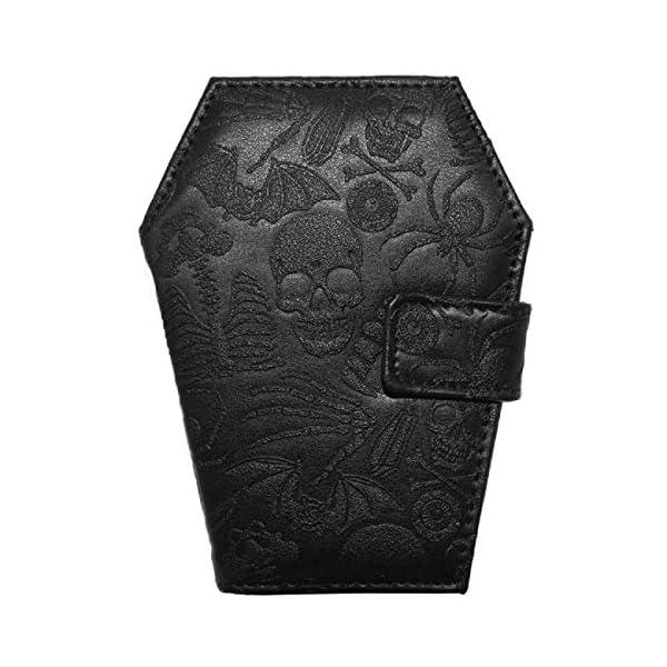 Kreepsville 666 Embossed Skull Coffin Shape Vegan Wallet, Black, Medium