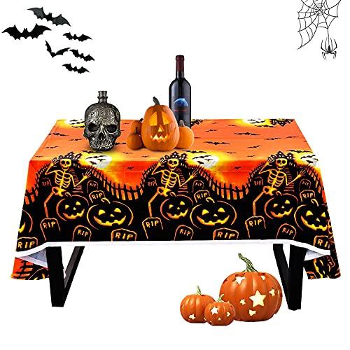 Mantel de halloween,Terror Manteles Halloween,Mantel de calabaza de Halloween,Fiesta temática de Halloween,Mantel impermeable de Halloween,Halloween decoracion,Mantel de plástico