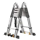 CHENMAO Escalera de extensión - Extensión de Aluminio Escalera Plegable Trapezoidal extendida, Carga máxima Escalera de Aluminio 330 lbs (2.9m + 2.9m)