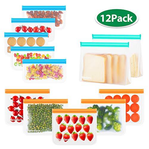 Newdora Sandwich Tasche, Koch Beutel Küche Beutel, Lebensmittel Beutel, Kühltaschen Mittagessen, Wiederverwendbare aus Silikon, ohne BPA, für Hause Obst, Gemüse, Milch, Snacks, Fleisch,12er-Pack