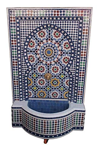 Saharashop Marokkanischer Mosaikbrunnen Blau-Bunt Groß