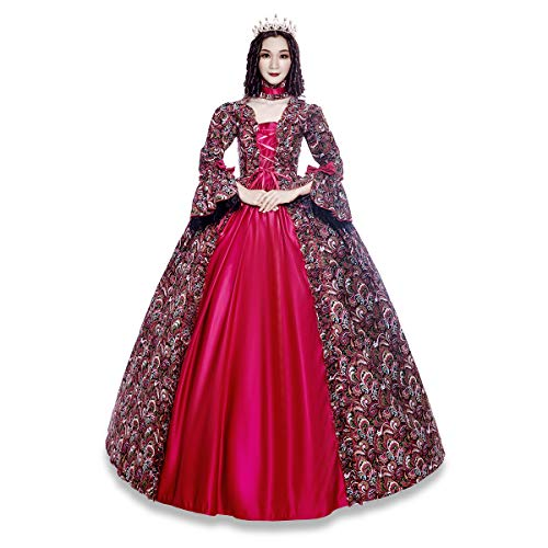 Colonial Georgian Penny Dreadful Victorian Dress Gothic Period Ball Gown Reenactment Theater Costumes (XL, Red)