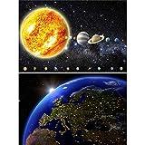 GREAT ART 2er Set XXL Poster – Erdansicht – Solarsystem