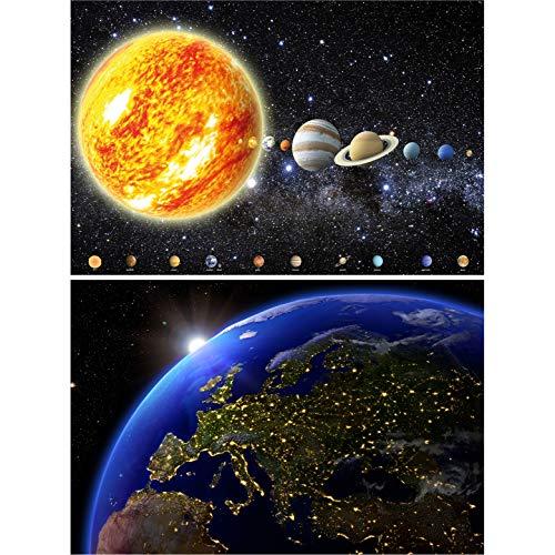 GREAT ART 2er Set XXL Poster – Erdansicht – Solarsystem & Blick auf Erde vom Weltall bei Nacht Galaxie Planeten Sonne Mond Sterne Space Dekoration Foto Wanddeko (140 x 100cm)