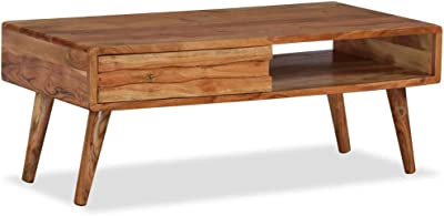 """Coffee Table, End Table Cocktail Table Solid Wood with Carved Drawer 39.4""""x19.7""""x15.7"""""""
