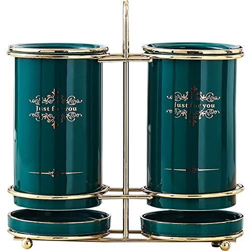 ZHNA Tube Nordic Chopsticks Creative Drain céramique Cage Maison Cuisine Ustensiles de Cuisine Couteau Fourchette cuillère Holder, Cadeau, Vert foncé