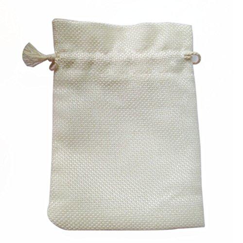 VORCOOL Mini-Sacs-Cadeaux Sac en Toile de Jute, Pochette à Bijoux, Cordon Blanc, Paquet DE 10